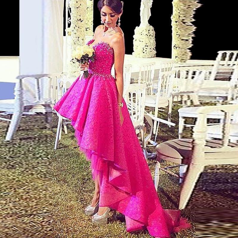 Impressionante Fushia Alta Baixa Vestidos de Baile Sem Alças Frisada Formal Vestidos de Noite Em Camadas Inchados Mulheres Vestidos de Festa
