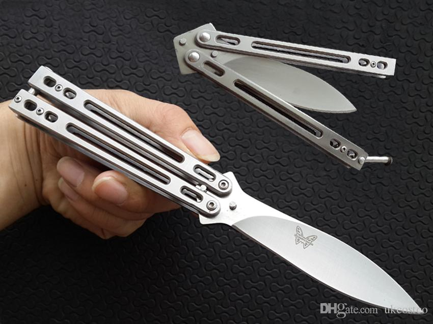 Folding Knife Benchmade Balisong Butterfly Knives Bead Blast Spear Point Plain Sandwich Construction Edc Pocket Knife Survial Gear D114q Bowie Hunting