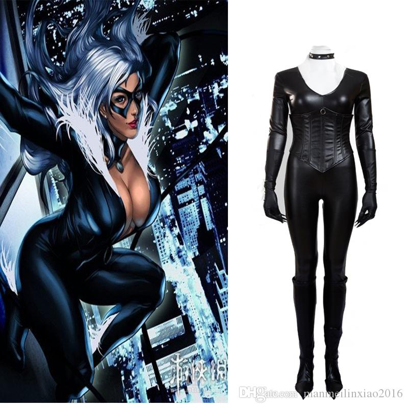 Sexy Tight Jumpsuit Black Cat Felicia Hardy Cosplay Costume The