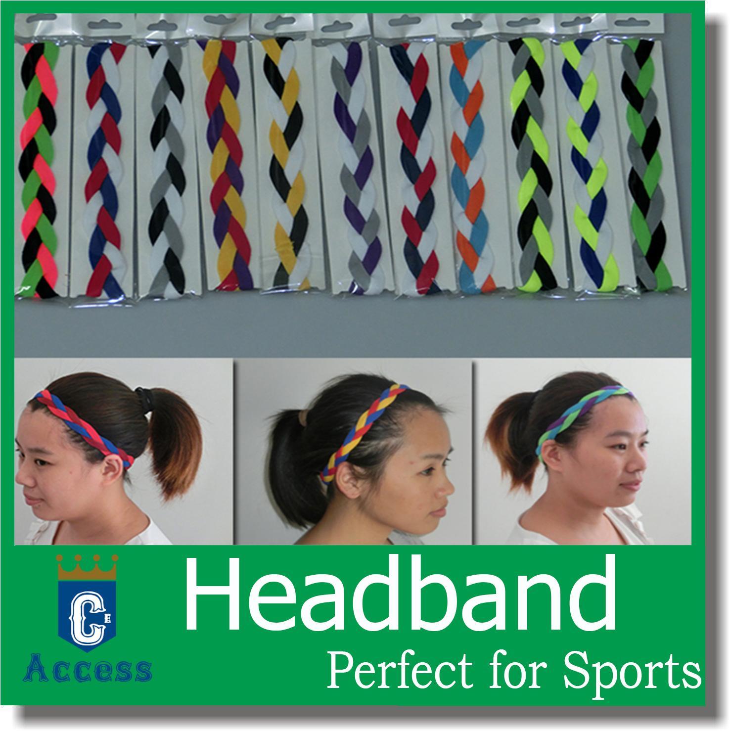 NEW! Braided Hair Bands Head Style Sweaty Headband Non Slip Sports softball headbands