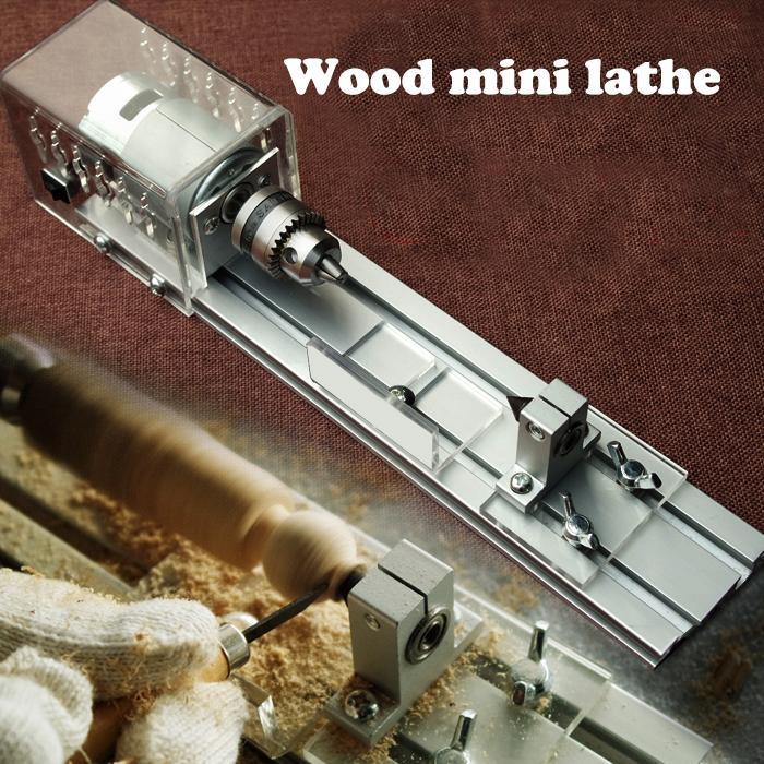 Torno de tabla de madera de bricolaje Mini Torno de máquina Mini Torno de ranurador para cortar y redondear