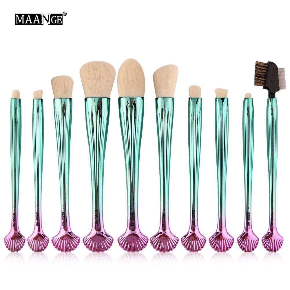 Maange 전문 10pcs 다채로운 쉘 메이크업 브러쉬 세트 파운데이션 블렌딩 파우더 아이섀도 아이 라이너 아이 브로우 립 메이크업 도구 세트
