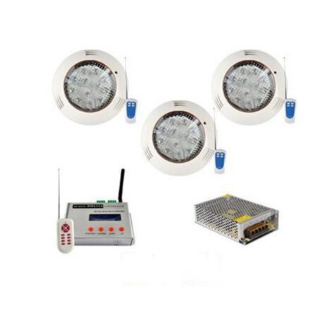 3PCS 36W RGB DMX512 LED 풀 연못 조명 DC 12V 수 중 IP68 표면 탑재 조명 + AT3010D DMX 컨트롤러 전원 공급 장치 CE ROSH
