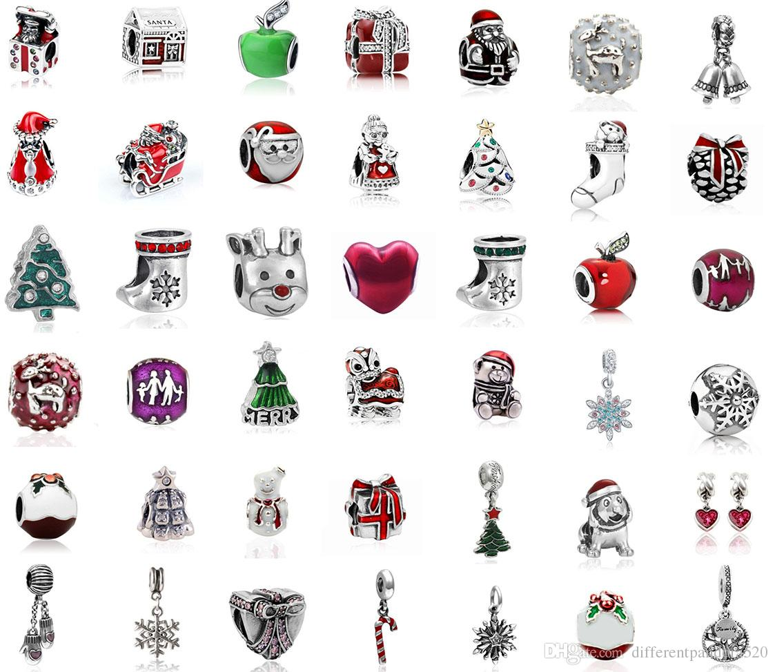 Pandora Christmas Charms.2019 Fit Pandora Charm Bracelet Christmas Series European Charms Big Hole Silver Beads Diy Snake Chain For Women Bangle Necklace Jewelry Xmas From
