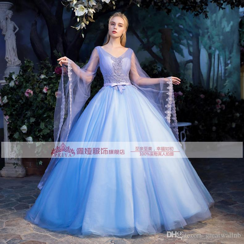 100% echte Luxus Perlen große Flare Ärmel Fairy Kleid mittelalterlichen Kleid Renaissance viktorianischen Kleid / Marie Antoinette Belle Ball