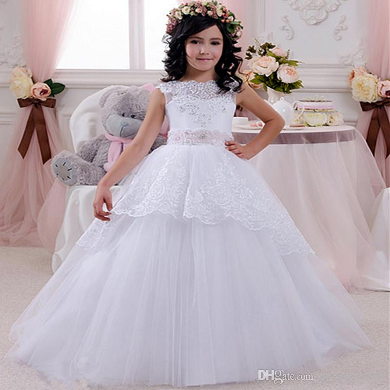 Cheap Lace Flower Girls Dresses For Weddings Open Back White Ivory Bow Kids Floor Length Bridal Gown 2016 Little Girls Pageant Dress