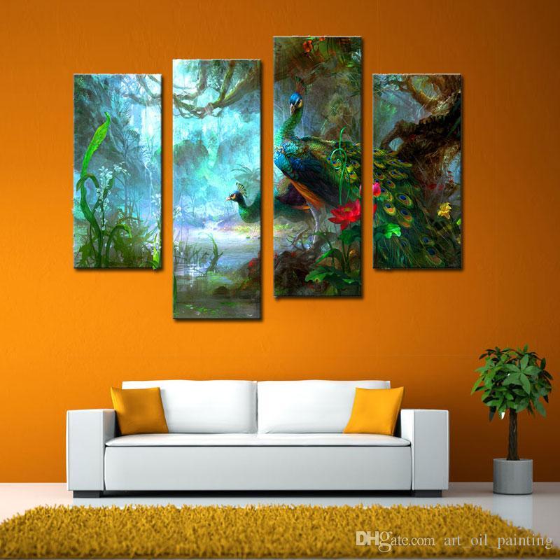 4 Paneles Decoración de pared Dos pavos reales caminan en el bosque Pinturas Imágenes Impresión en lienzo Arte moderno de lienzo Arte La imagen para la decoración del hogar