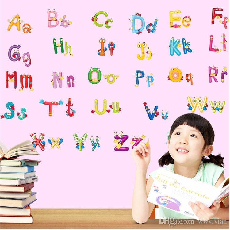 English Alphabet Cartoon Animals Wall Stickers Kids Room Nursery Wall Mural Poster Art Early Education Wallpaper Decals Hanging Graphic Decal Wall Murals Decal Wall Quotes From Wwvivian 4 Dhgate Com