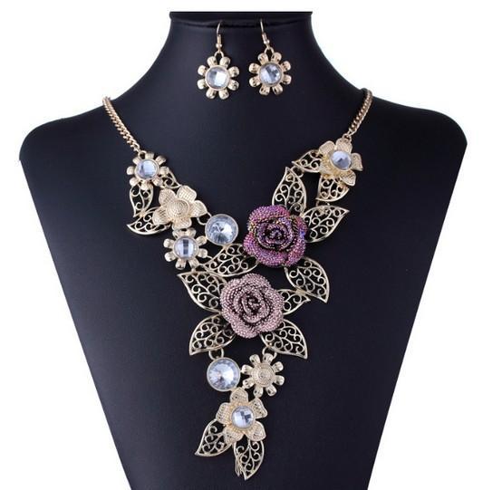 Colar de Ouro Rose Mulheres Flower Vintage Brincos instrução Set Jóias
