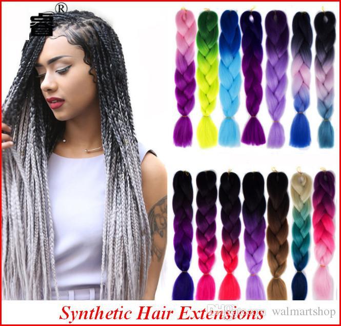 Nuove estensioni dei capelli per le donne 60 cm 24 pollici sintetico Kanekalon moda trecce jumbo capelli 64 colori bea462