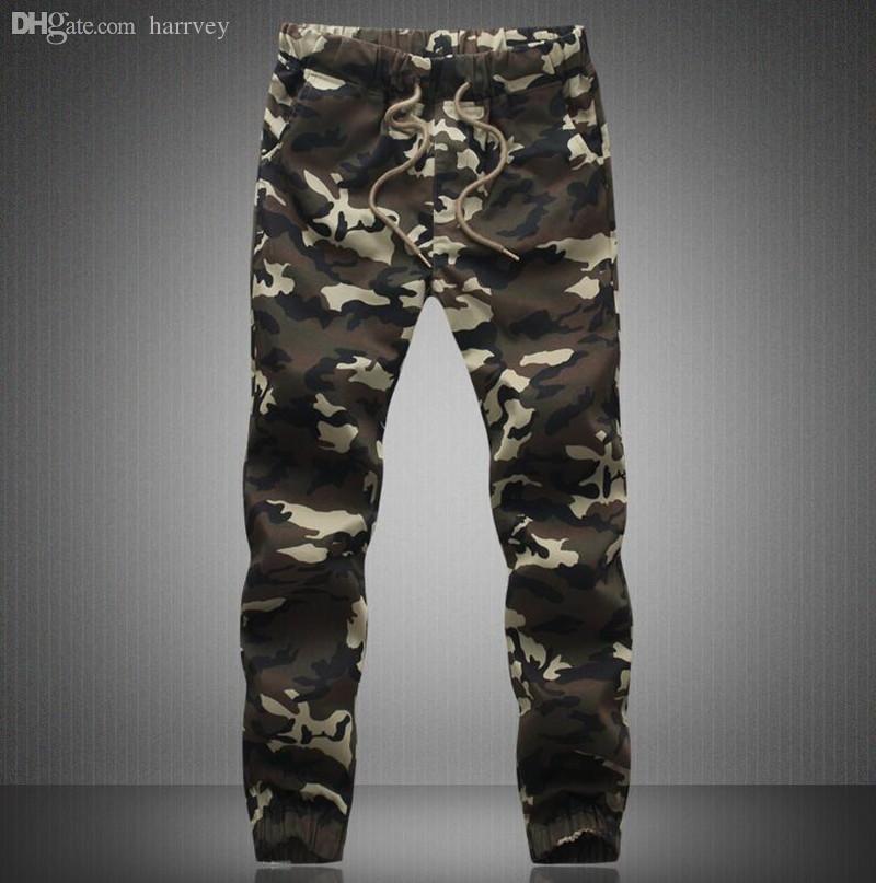 All'ingrosso-M-5X 2016 Mens Jogger Autunno matita pantaloni Harem Uomini pantaloni mimetici pantaloni larghi confortevoli pantaloni cargo Camo Jogging