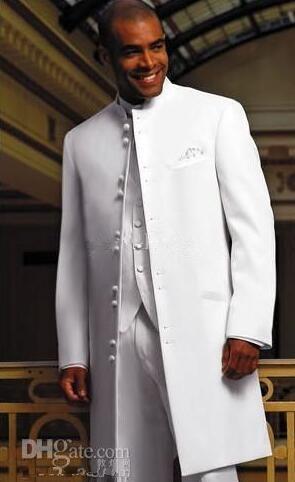 Blanc Long Manteau Tuxedos Groomaman Blazer Robe De Mariée Pour Hommes Vêtements De Bal Costumes Affaires Meilleur Costume Sur Mesure Homme (Veste + Pantalon + Gilet)