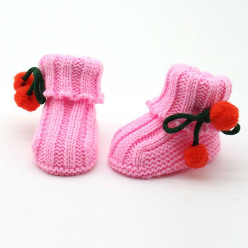 Оптовая продажа-милый новорожденный ребенок зимние теплые сапоги мягкой подошвой ботильоны 0-6 м ручной младенческой вязаные носки сапоги F28