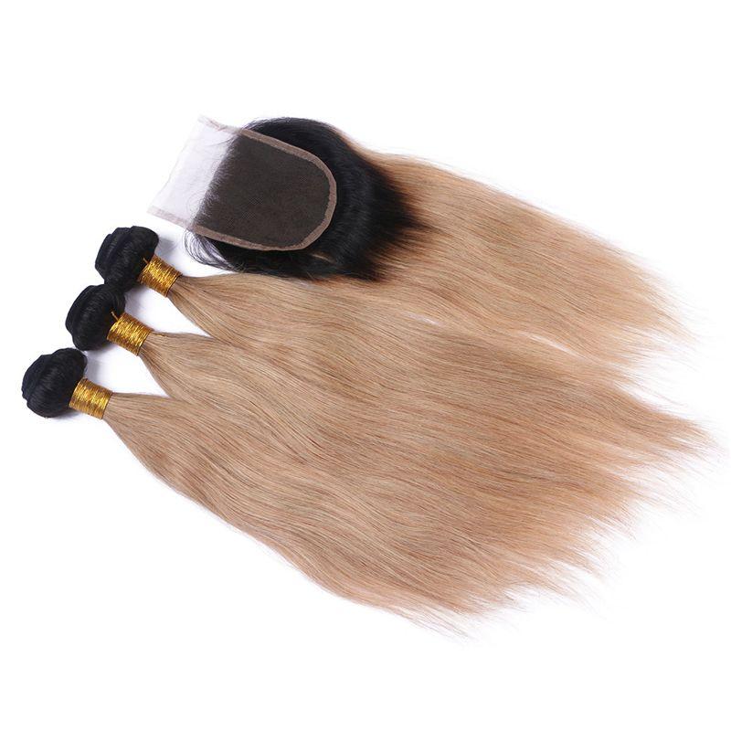 العسل شقراء الظلام الجذر حريري مستقيم الشعر البشري حزم مع إغلاق الرماد شقراء 1B 27 الشعر ينسج مع 4x4 أعلى الدانتيل إغلاق
