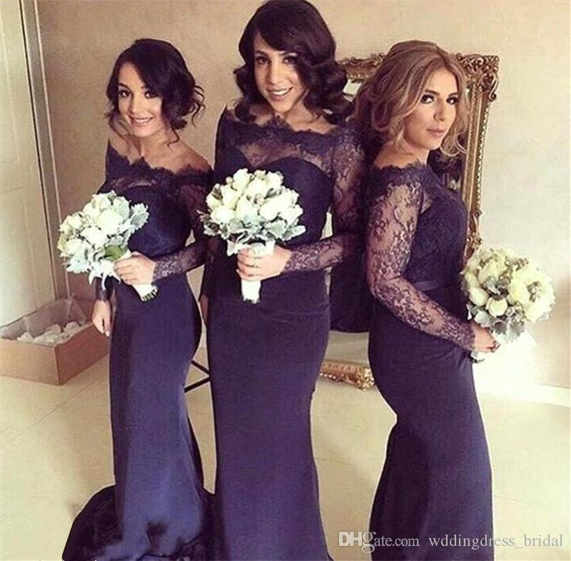 Dark Blue Off Shoulder Lace Long Sleeves Bridesmaid Dresses For ...