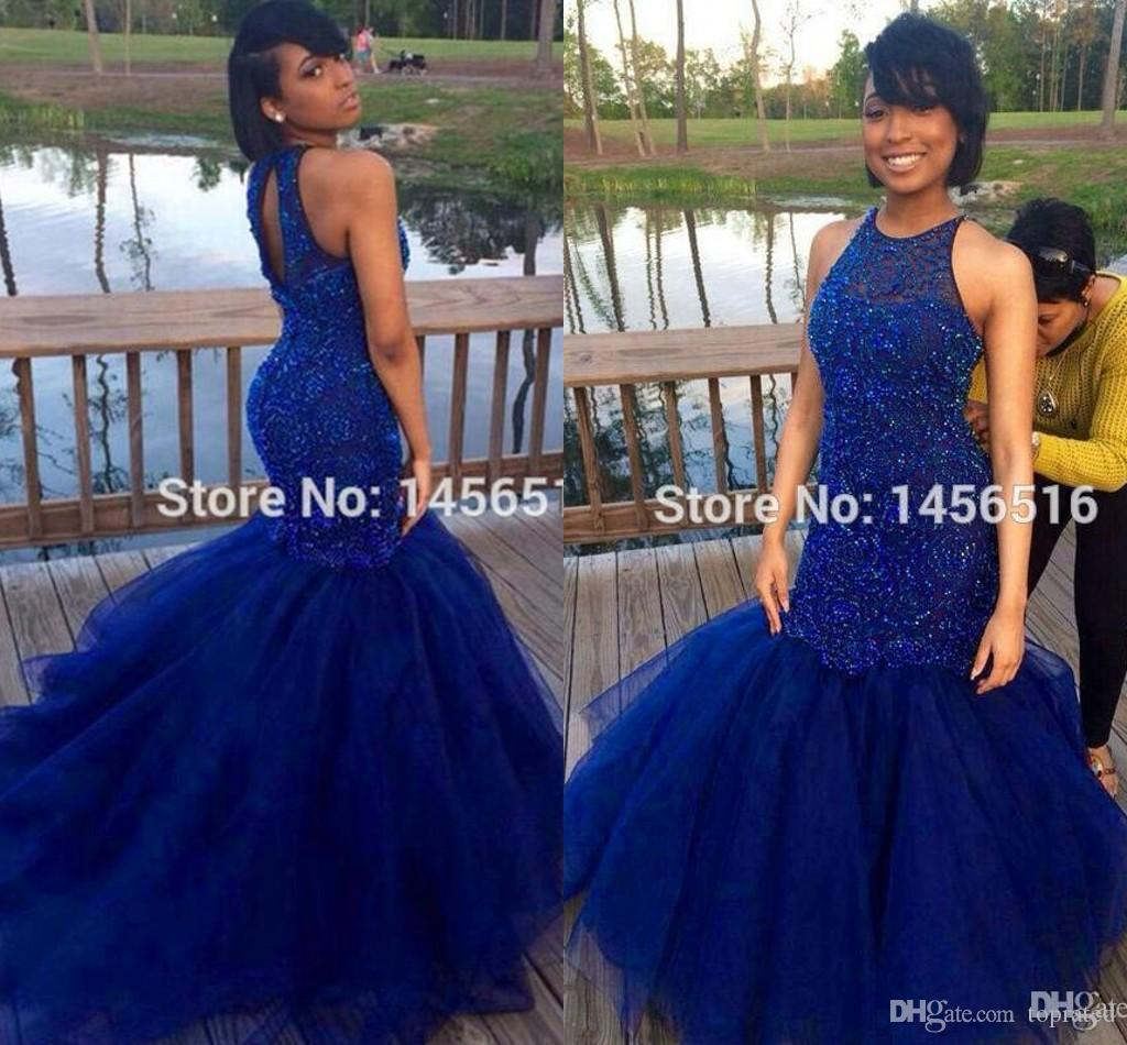 Royal Blue Prom Dresses 2019 Sexy Back Mermaid Hard Beadings Evening Party Gowns Indian Black Girl Dress For Women Special