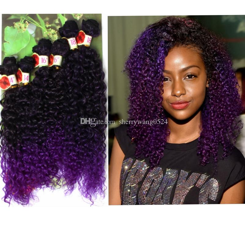 DEEP Wave/Jerry Curly Synthetic Hair Weaves Ombre Hair Extension T1B/27/30/Purple/BUG colored Afro Curly Hair Freetress Croceht Braids 6PCS