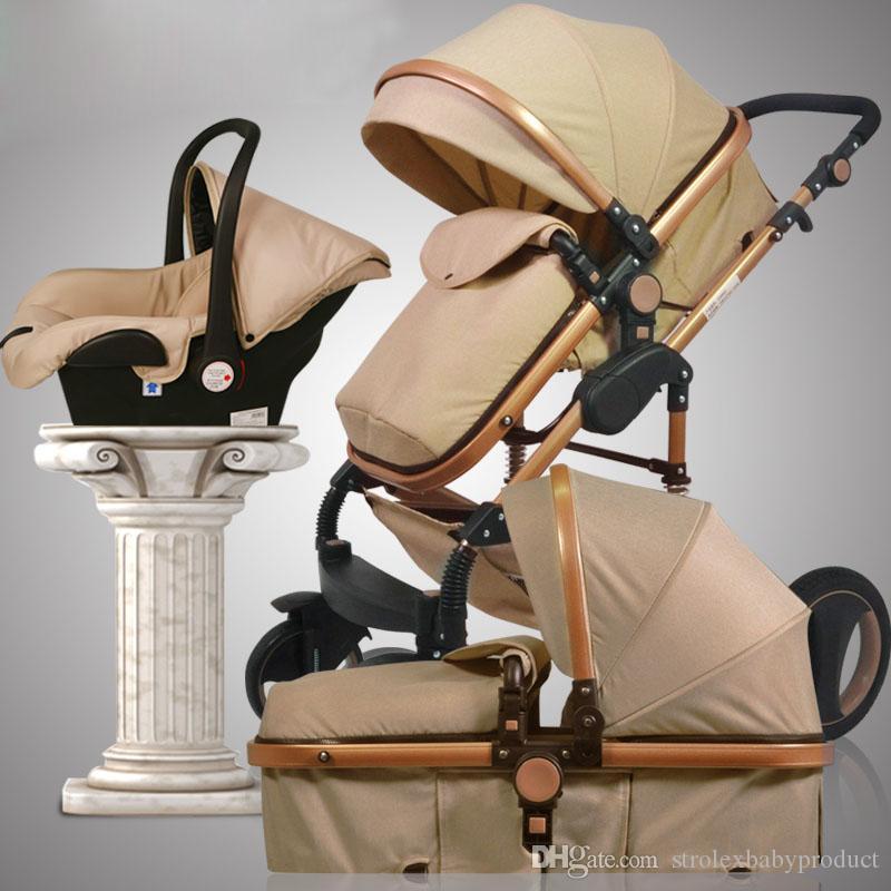 3 en 1 vue de luxe bébé bébé poussette à fourreau à quatre roues Système de voyage pliable avec siège de voiture Berceau Panier Double Poussette Pram