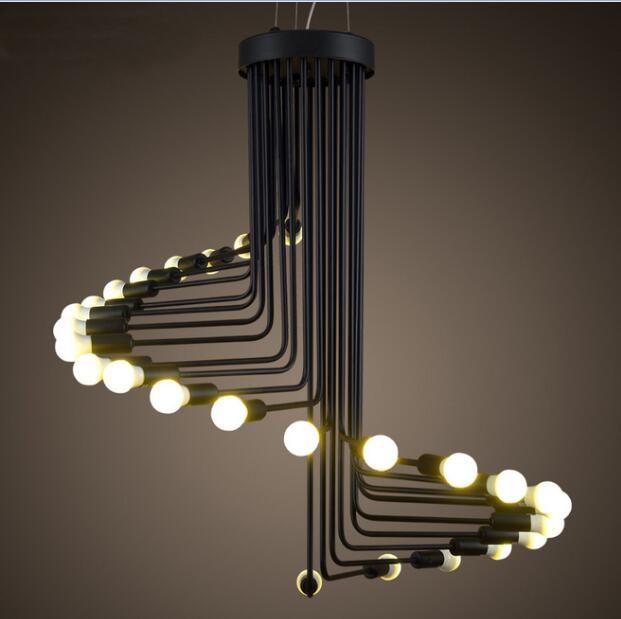 Moderne Vintage Vintage Pendentif Plafonniers Plafonniers Fer Spirale Escalier Lampe Drop Light Light Fixture suspendue American American