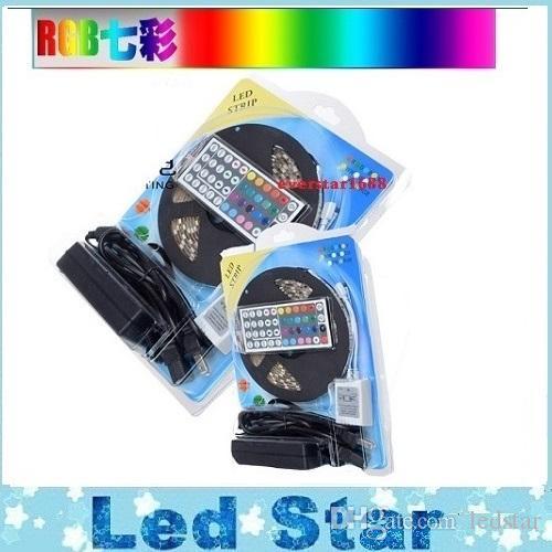 RGB LEDストリップキットライト5050 12VフレキシブルLEDロープライト防水IP65 + 44KEYSコントローラ+ 12V 5A電源
