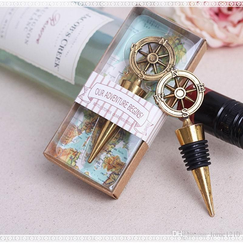 Envío libre, diseño náutico del timón Tapón de la botella del vino rojo Tapón de Champán Favores y regalos de la boda