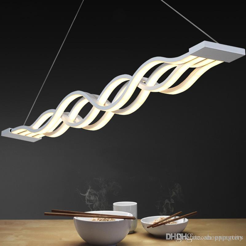 New Design Wave Shape 80W Modern Pendant Lights per sala da pranzo Dimmable LED Light Light Hanging Lamp Lamparas