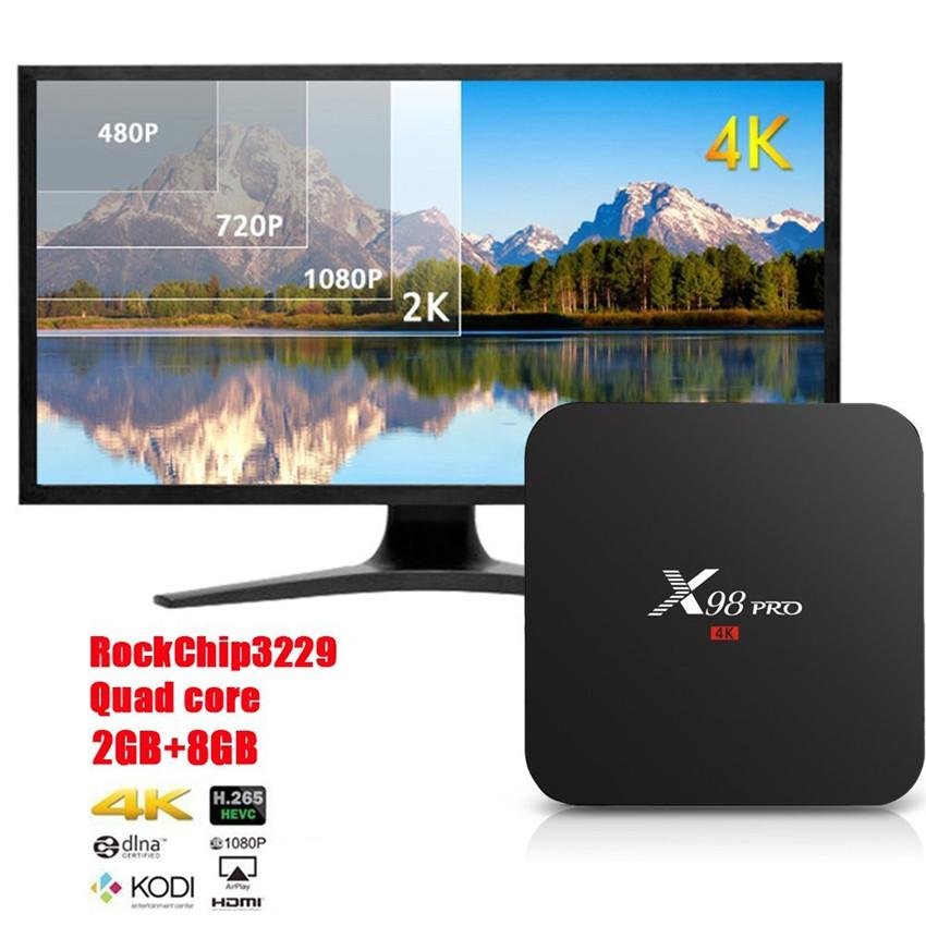 Canada Stock X98 Pro RK3229 Quad Core Android TV Box Fully Loaded Add Ons  Wifi Lan Miracast Airplay HDMI 2G 8G Stock Net Box Tv The Tv Box From