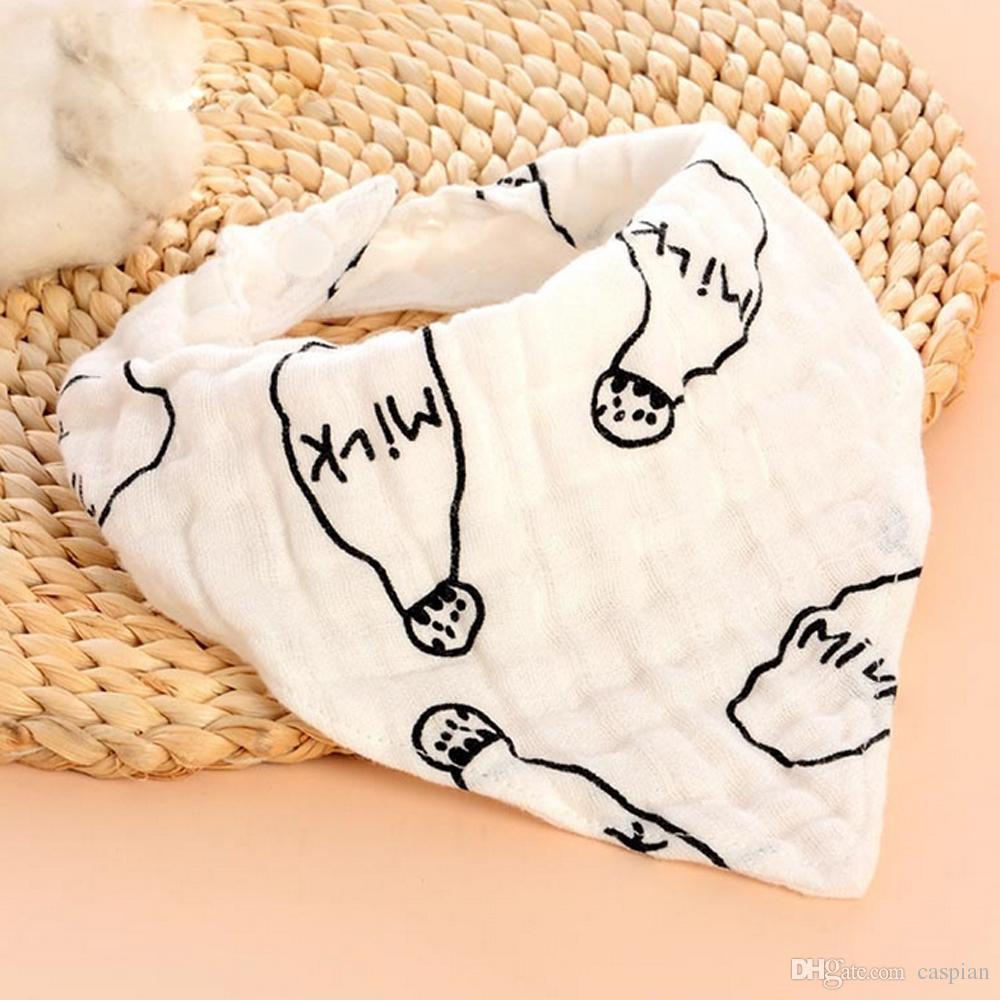 Cotton Gauze Triangle Baby Bandana Bib Soft Breathable Drool Bib Adjustable Lunch Feeding Bib Burp Cloths Wholesale Price