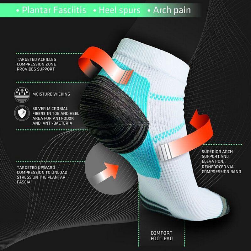 Al por mayor-1 par de compresión Calcetines Hombres Anticansancio fascitis plantar del talón Spurs Dolor Deporte de calcetín corto para los hombres Las mujeres RD602666