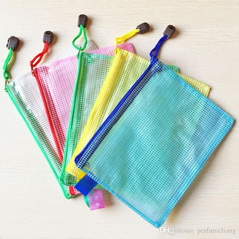 PVC Waterproof Gridding Zipper Bag Document Pen Filing Products Pocket Folder Office Organizer Storage Bag ZA5065
