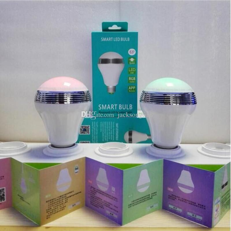 Wireless Control Speaker Smart Music Audio Speaker LED RGB Color Bulb Light Lamps E27 bluetooth speakers wholesale 1pcs/lot