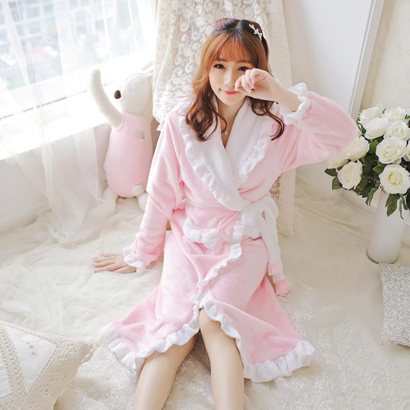Hurtownie-kobiety szlafrok jesień i zima Luźne kobiety szaty flaneli szal Unisex Pajama Nightdress Sen Dress XXL Rozmiar Plue
