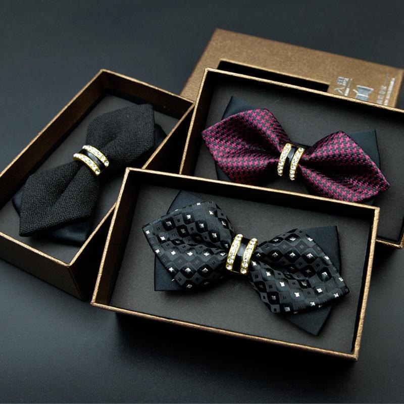 Men's dress diamond wedding groom Groomsmen metal bow tie new influx of goods in stock