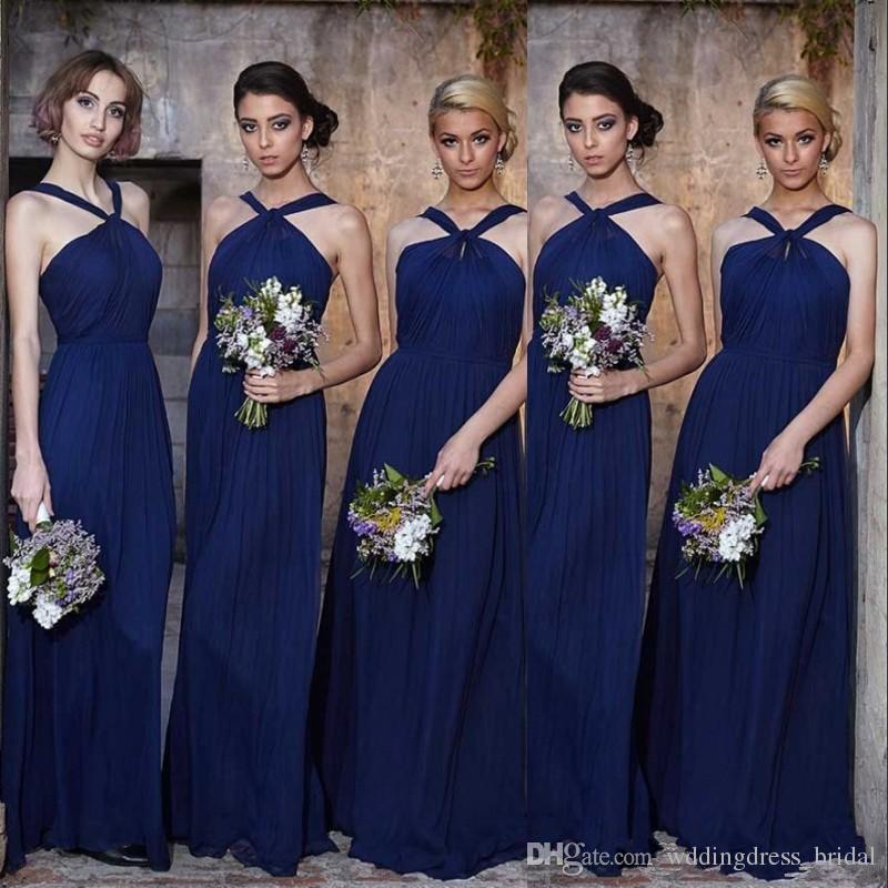 Современный шифон королевский синий платья невесты длинные 2017 Sexy Холтер шеи линии складки свадебные платья гостей лето фрейлина платья