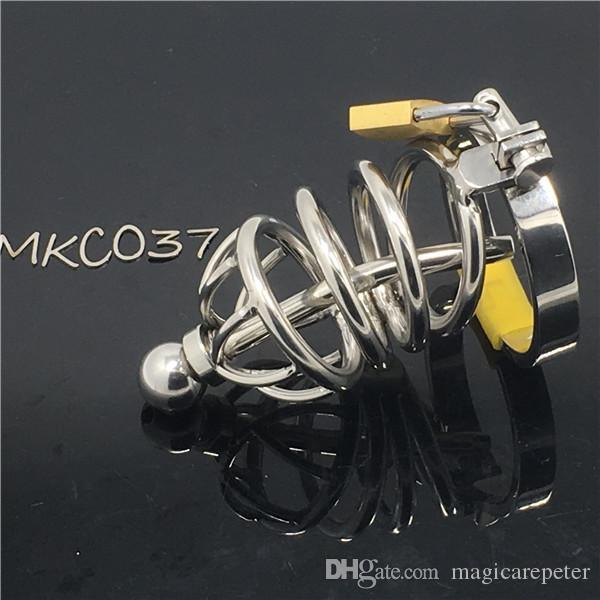Dispositivo di castità in acciaio inossidabile per ragazzo Gabbia per pene di castità MKC037 gabbia per cazzo per manicotto di castità bondage ragazzo