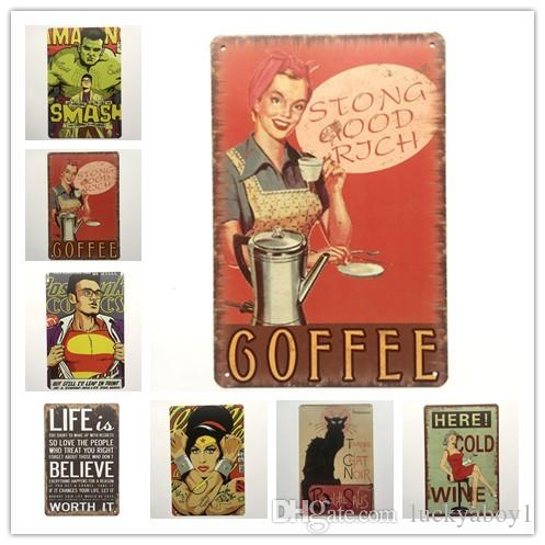 Cat Smash Coffee Wine Retro rustic tin metal sign Wall Decor Vintage Tin Poster Cafe Shop Bar home decor