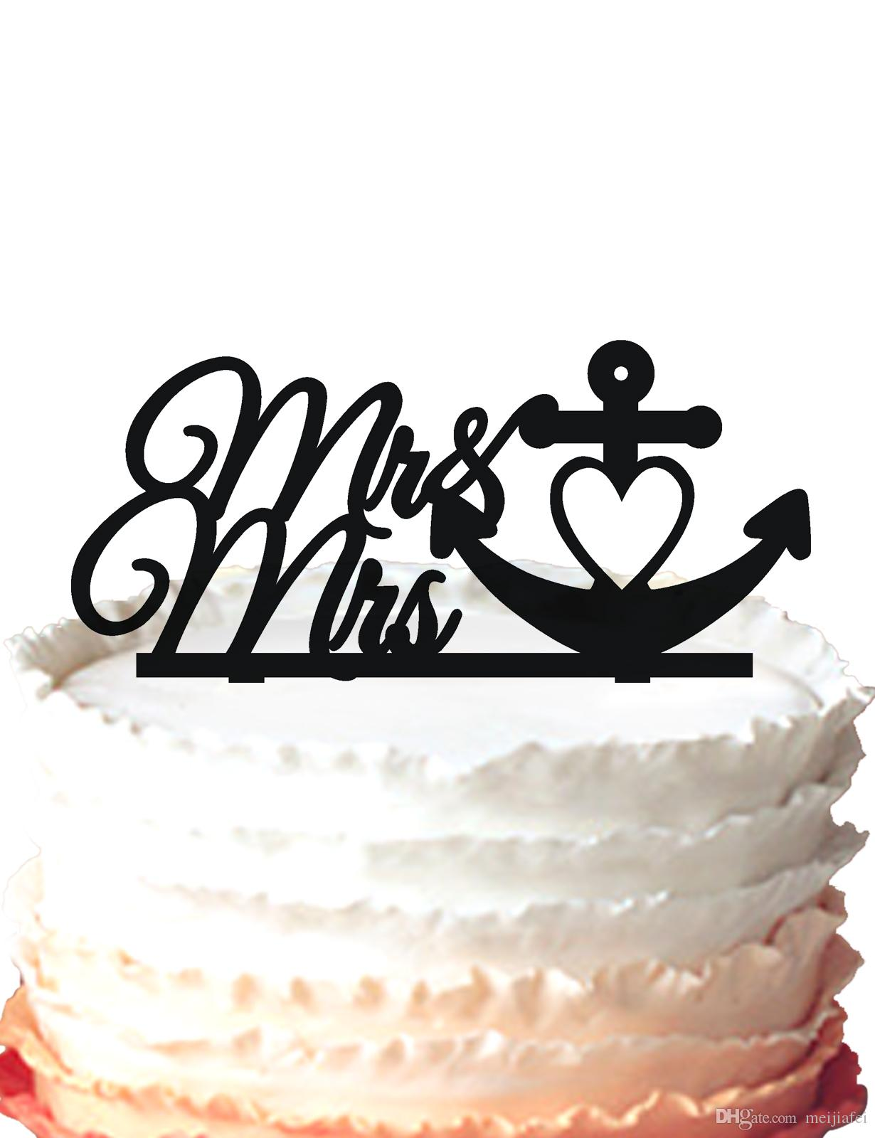 2019 Mr & Mrs And Anchor Acrylic Wedding Cake Topper Silhouette Cake  Decoration,For Option From Meijiafei, $18.09   DHgate.Com