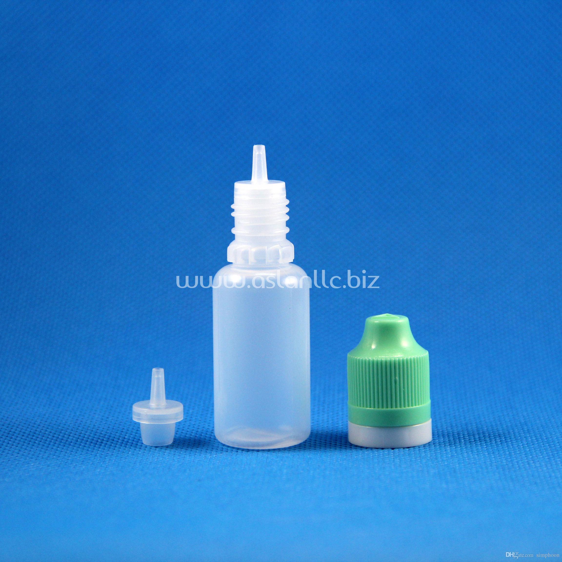 100 세트 / 로트 15ml 플라스틱 스포이드 병 탬퍼 뚜렷한 어린이 이중 증명 모자 롱 씬 바늘 팁 e 수증기 액 액체 15 mL