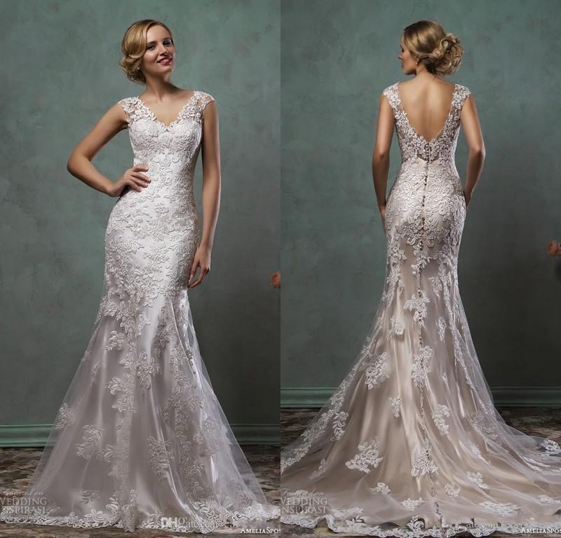 Discount 2016 Wedding Dresses Full Lace Cap Sleeve V Neck Trumpet Fit And Flare With Champagne Underlay Modern Spring Bridal Gowns Cheap Buy Wedding