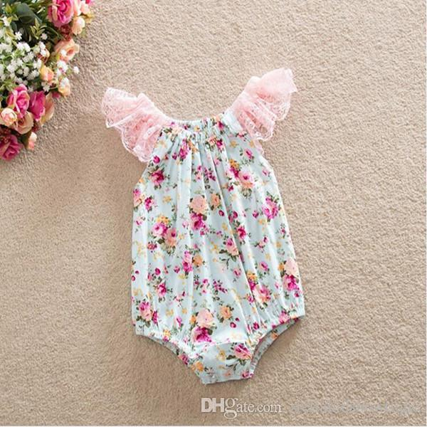 US Toddler Baby Girls Clothes Ruffle Sleeve Floral Romper Summer Holiday Outfit
