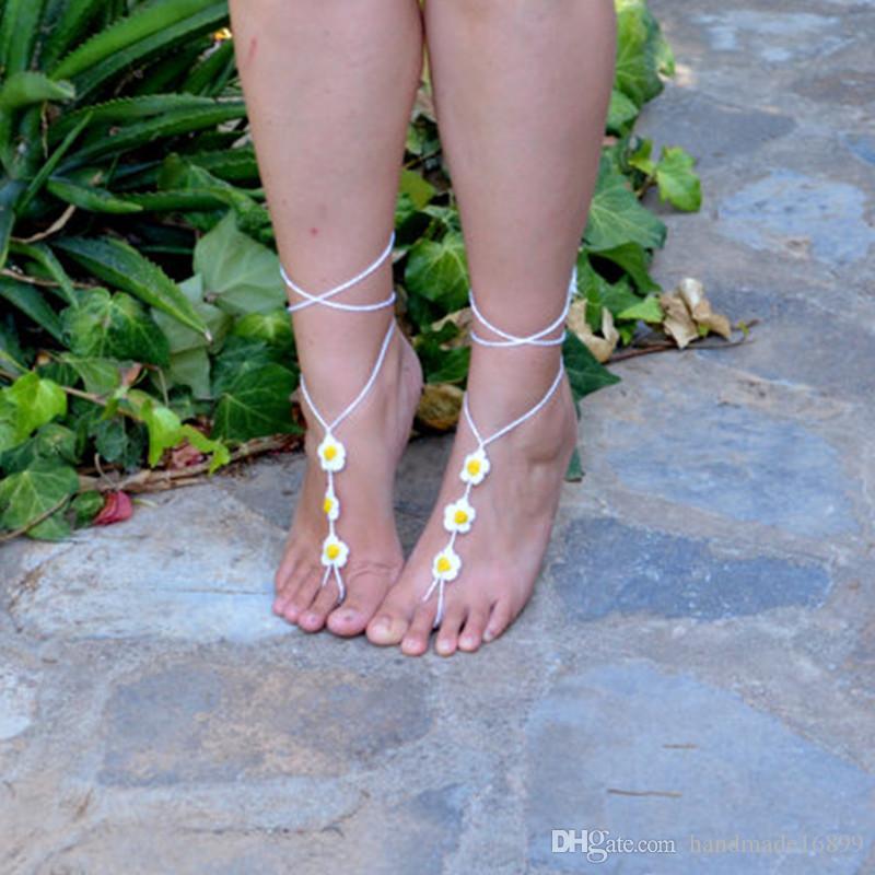 Gehäkelte Barfuß Sandale, -DAISY- Fußschmuck, Hochzeiten, Fußkettchen, Zehenring, Gypsy, Yoga, Tanga, Bridal, Strand, Sommer, Spitze Sandles