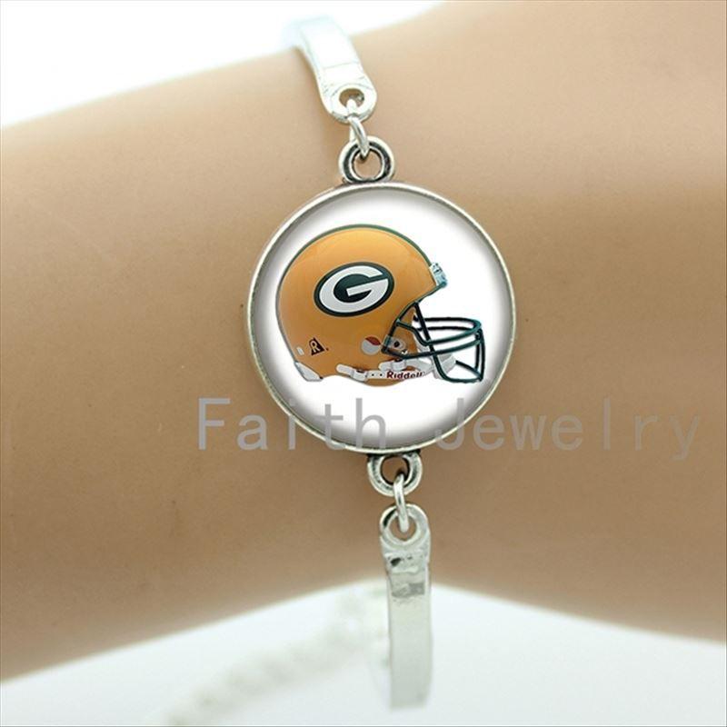 Cool cas de bijoux de rugby pour le bracelet de l'équipe décontractée personnalisée équipe de football casque image bracelets cadeaux de sport NF109