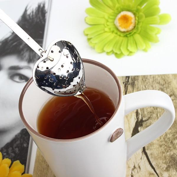 Heart Shaped Tee Infuser Löffel Sieb Edelstahl Steeper Griff Dusche tee infuser tee infuser teesieb kostenloser versand TY1824