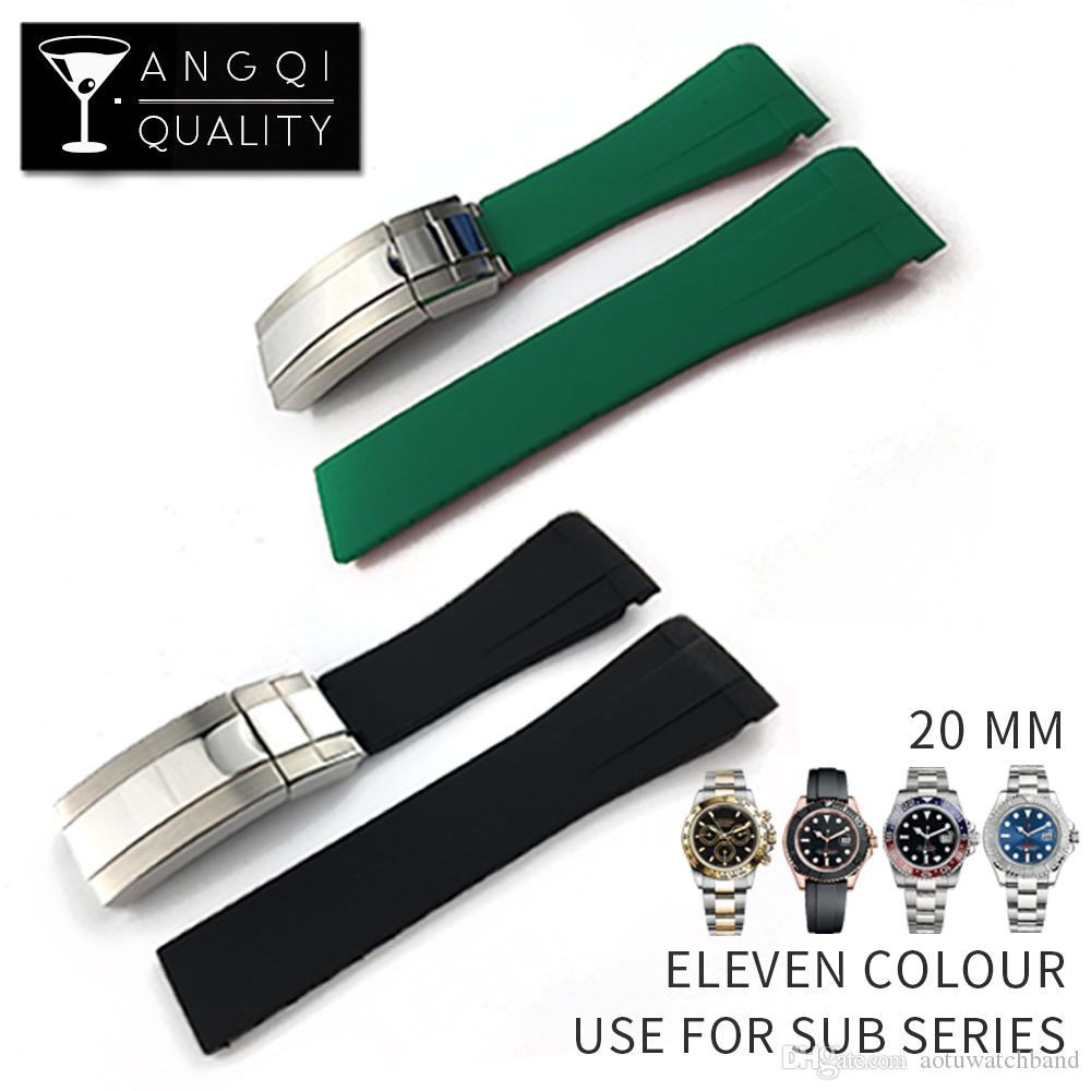 Waterproof Rubber Watchband Stainless Steel Buckle Watch Band Strap for Oysterflex SUB Bracelet Watch Man 20mm Black Blue Green+TOOL