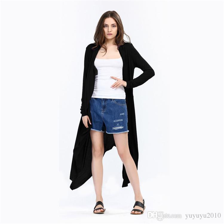 2017 neue Herbst Winter Frauen Langarm Solide Strickjacke Elegante Irregualr Strickjacke Frauen Lange Poncho Femme Plus Größe MDL171008
