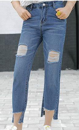 женщины Женщина мир моды джинсы весна осень отверстие в целом промывают сфальсифицированы старинные нищий брюки синий свободные hotsale S-XL