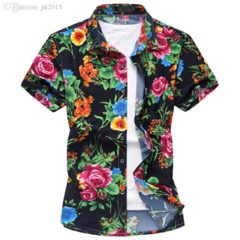 Wholesale-2016 Mode Herren Kurzarm Seide Hawaiihemd Plus Größe M-6XL Sommer Casual Floral Shirts für Männer
