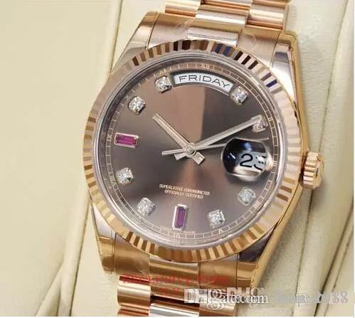 Top montres de luxe pour hommes automatique Diamond Chocolate Dial Ruby Everose Gold 118235 CHODRP en acier inoxydable mens montres