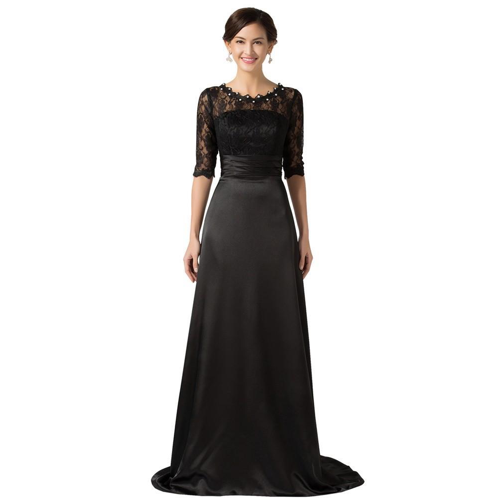 2020 i più nuovi Madre della Sposa Abiti con Pizzo Maniche spose vestiti dalla madre Perle pavimento nero di lunghezza del vestito da sera su ordine a buon mercato