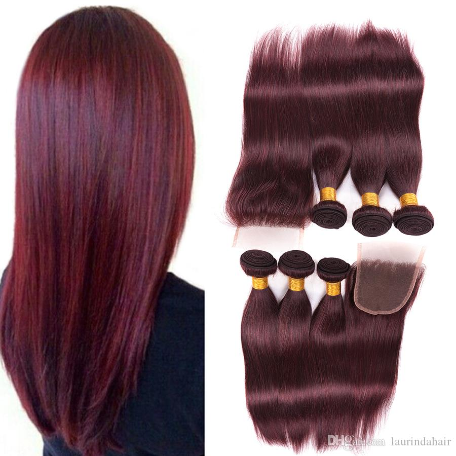 Hot Sale Unprocessed 99j Straight Virgin Hair With Closure #99J Malaysian Human Hair 3 Bundles With Lace Closure 4Pcs Lot Red Hair